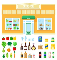 Store showcase of food and drink vector