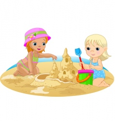 Children at beach vector