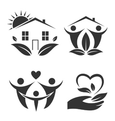 Green house logo set happy family icon eco lover vector