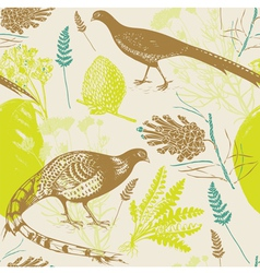 Vintage birds wilderness pattern vector