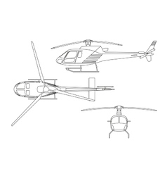 Outline drawing of helicopter on white background vector