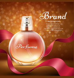Aroma sweet perfume with red silk ribbon romantic vector
