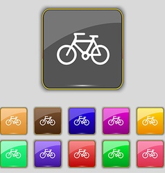 Bicycle icon sign Set with eleven colored buttons vector image