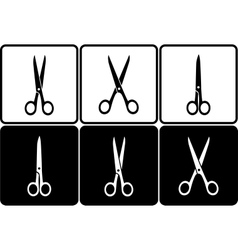 Black and white scissors icons vector