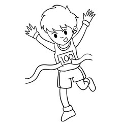 Boy winner run character style vector