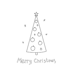 Christmas postcard with fir trees and a vector image