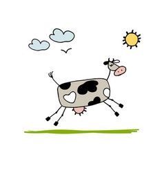cow grazing in meadow sketch for your design vector image vector image