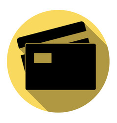 Credit card sign flat black icon with vector