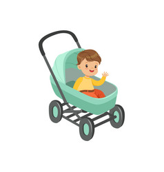 cute little boy sitting in a turquoise baby pram vector image