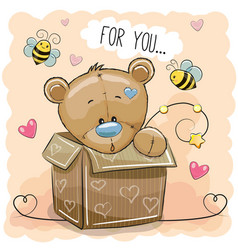 cute teddy bear in a box vector image