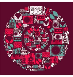 Dj music icons disc vector