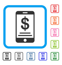 dollar mobile wallet framed icon vector image vector image