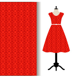 Dress fabric with red arabic pattern vector