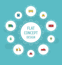 flat icons cab lorry automobile and other vector image vector image