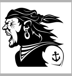 furious pirate - screaming sailor vector image vector image