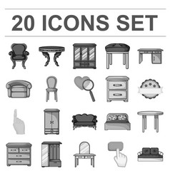 Furniture and interior monochrome icons in set vector