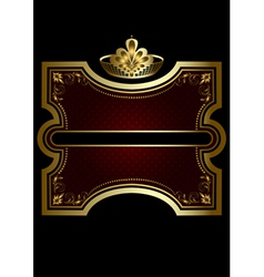 Gold frame with shiny burgundy background vector image