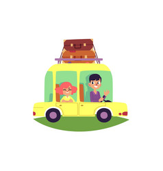 Happy couple family on car trip luggage on top vector