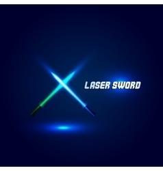 Isolated cossed light swords logo futuristic vector