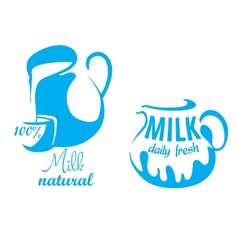 Jugs with natural milk vector