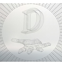 Letter d of lines and dots on the arm the vector