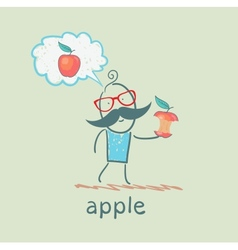 man eats an apple and think of the apple vector image