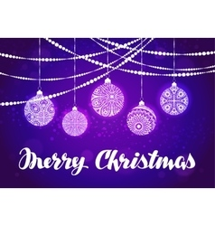 Merry christmas xmas decorations and balls vector