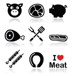 Pig pork meat - ham and bacon icons set vector