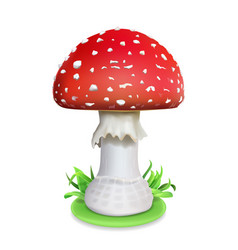 Red fly agaric mushroom realistic vector
