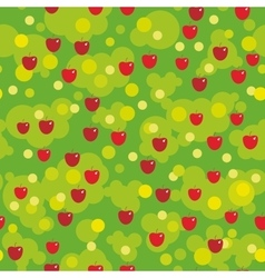 Seamless pattern - red apples and green leaves on vector image
