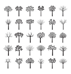 Set of black trees vector
