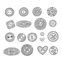 Set of cloth buttons in different boho style vector