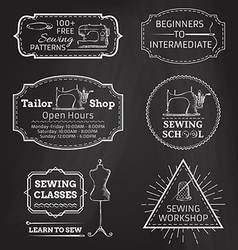 set of linear chalk badges labels logo templates vector image vector image
