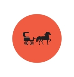 Stylish icon in color circle carriage with horse vector