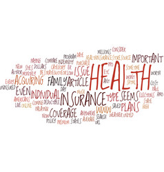 The important of health insurance text background vector