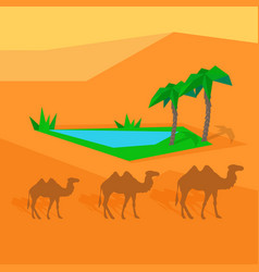 Transportation goods by camel worldwide warehouse vector