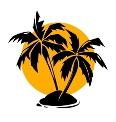 Tropical paradise palm trees and sun logo vector