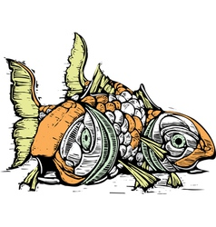 Two Japanese carp vector image