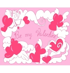 Valentine day card with angel hearts vector