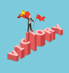 Victory flat isometric concept vector