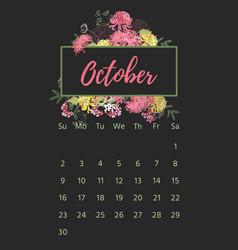 Vintage floral calendar 2018 vector