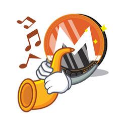With trumpet monero coin character cartoon vector
