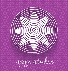 Yoga logo Flower shaped logotype on floral pattern vector image vector image