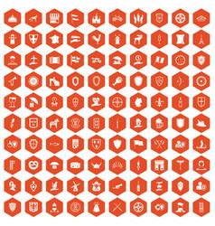 100 shield icons hexagon orange vector