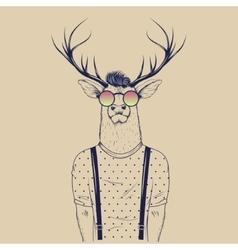 Modern deer hipster like a human vector