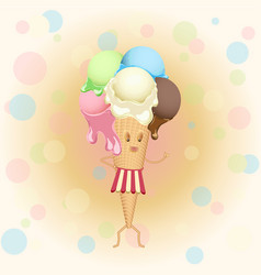 Multicolor poster - humanoid waffle ice cream vector