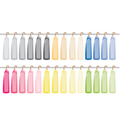 Assorted suit hanging on a clothes rack vector