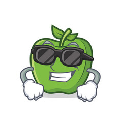 super cool green apple character cartoon vector image