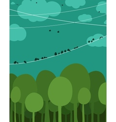 Forest and birds sitting on wires graphic design vector