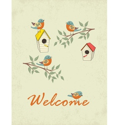 Card with bird house vector image